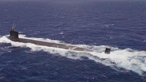 Surfaced Moving Submarine