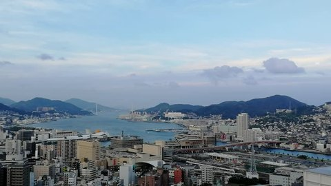 Nagasaki, Japan. Aerial view of Nagasaki, Japan in the morning with a clouds. View of port and residential area