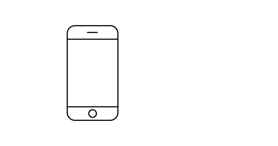 Smartphone line icon, animated illustration design. Communication collection.