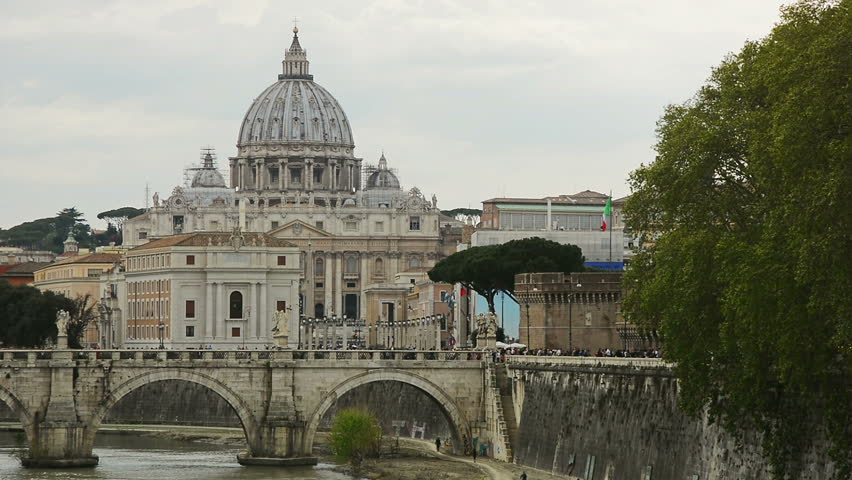 Sant'Angelo Bridge over the Tiber river and St. Peter's Basilica, Rome, Italy | Shutterstock HD Video #1014391931