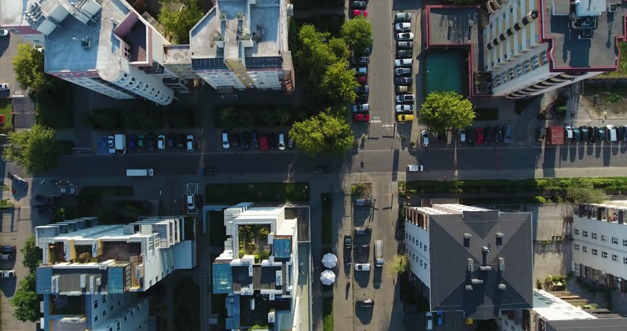 Rooftops, Parking Spot, Residential Apartment. Top Down Drone Shot | Shutterstock HD Video #1014411311