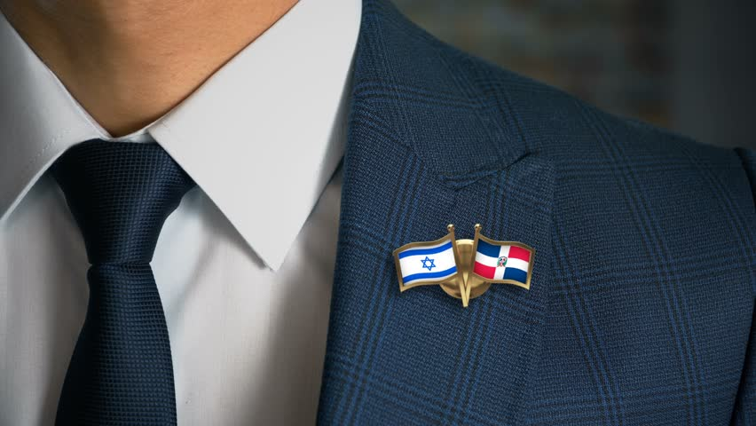 Businessman Walking Towards Camera With Friend Country Flags Pin Israel - Republic of Dominica