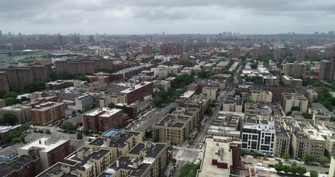 New York, New York / United States - 7-1-18 : Aerial of Mott Haven and The South Bronx