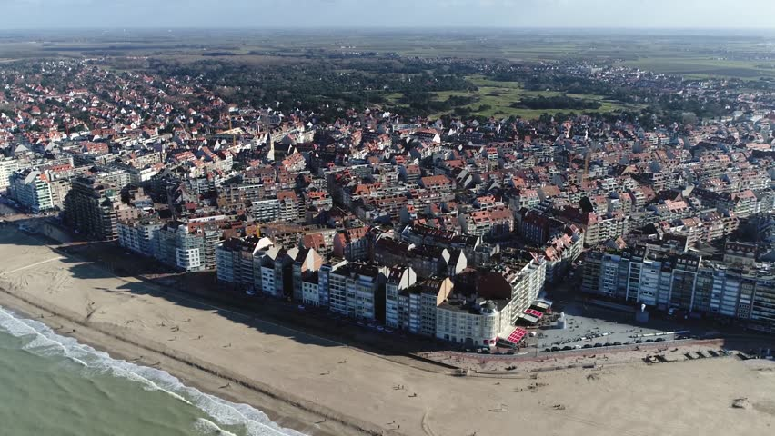 Aerial of Knokke-Heist city in Belgian province of West Flanders it is located along North Sea on the Belgian border with the Netherlands and is Belgiums best-known and most affluent seaside resort 4k