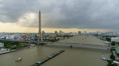 Time lapse of Cloud storm at Big Suspension bridge in city / Rama 8 bridge with cloud storm