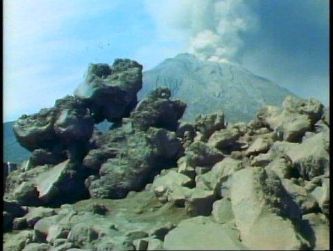 KAGOSHIMA, JAPAN, 1982, The Sakurajima Volcano erupting, the island of Kyushu