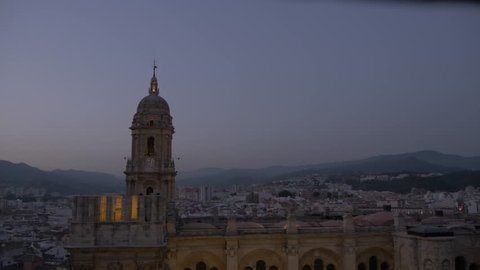 Elevated view of Malaga Cathedral at dusk, Malaga, Andalucia, Spain, Europe