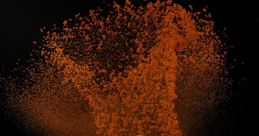 Turmeric, curcuma longa, Powder falling against Black Background, Indian Spice, Slow Motion 4K   Shutterstock HD Video #1014492461