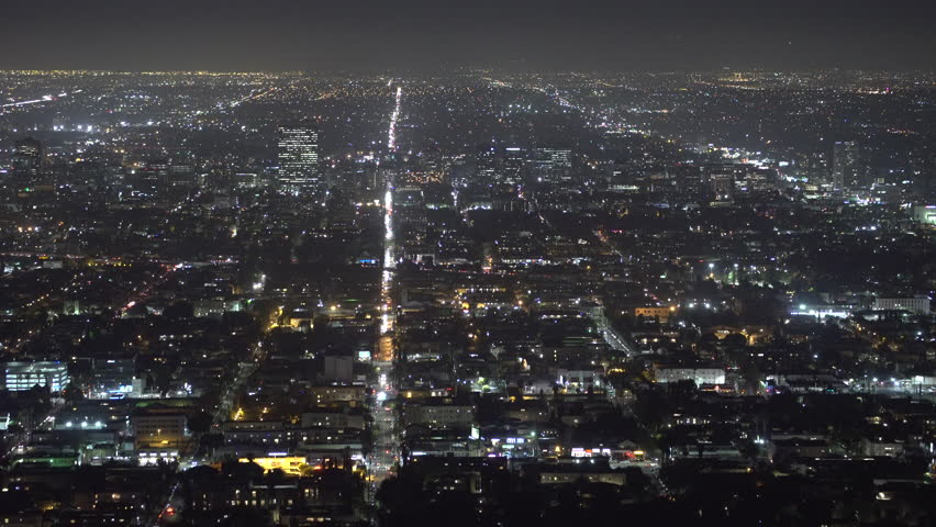 Los Angeles, United States - June, 2017: High angle view of Los Angeles at night | Shutterstock HD Video #1014501071