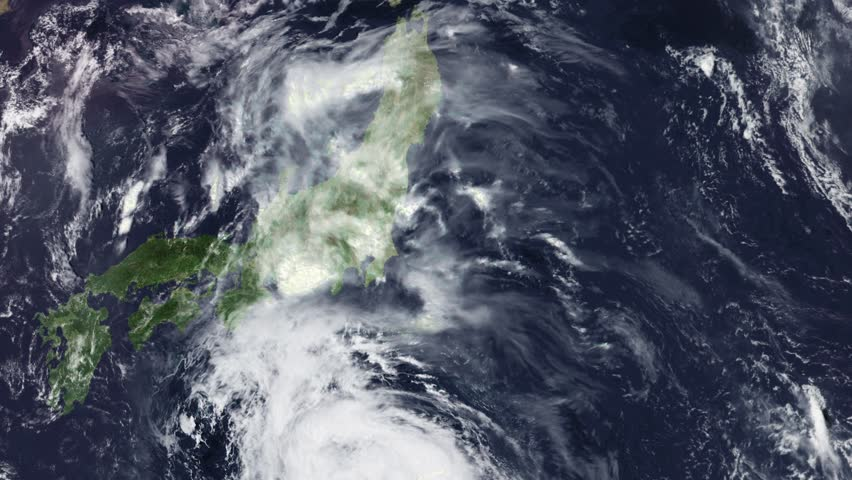 Typhoon Jongdari over Japan, Cat 2, 28 July 2018, 110 mph wind wind, NE 13 mph, 3840x2160 Some of the video elements are public domain NOAA/NASA imagery: it is requested that you credit when possible