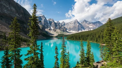 Moraine Lake time lapse view in Banff National Park, Canadian Rockies, Alberta, Canada. Zoom in.