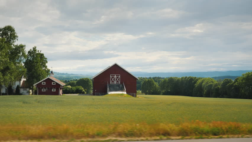 Beautiful landscape of rural Norway. View from the window of the bus | Shutterstock HD Video #1014562241