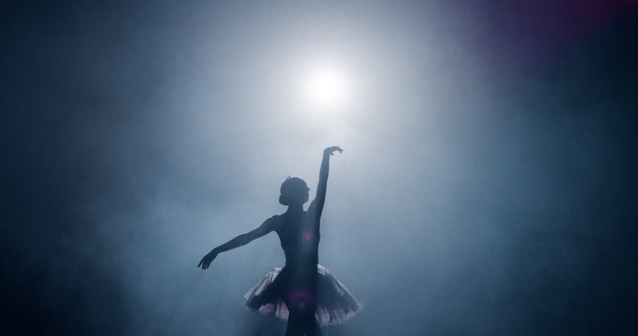 Silhouette Ballet Dancer Performing Swan Lake on Dark Stage Determination Beauty Concept Slow Motion Red Epic