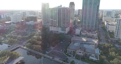 St Petersburg, Fl Aerial View Of City Skyline. St Pete drone. St. Petersburg is a city on Florida's gulf coast, part of the Tampa Bay area. It's known for its pleasant weather