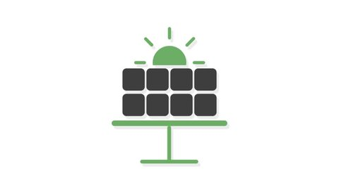 Environment icons animation with white  background.Solar Energy icon animation with white background.