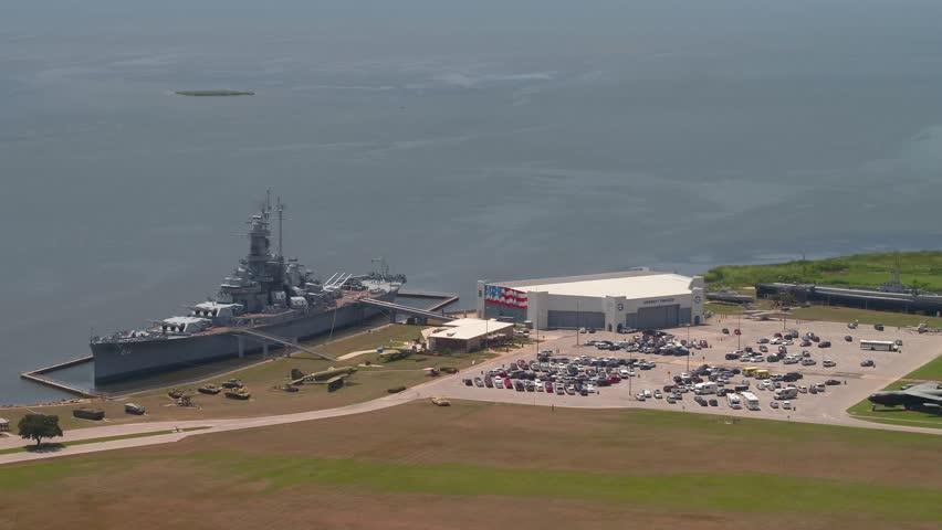 MOBILE, ALABAMA, USA - AUGUST 1,m 2018: Aerial footage of the USS Alabama  Battleship Memorial Park