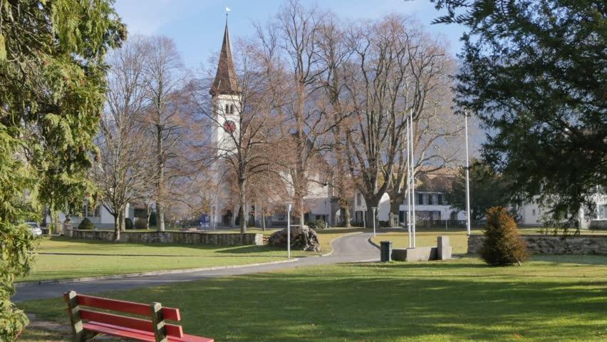 Schlosskirche and Rom-Katholische Kirchgemeinde, Interlaken, Jungfrau region, Bernese Oberland, Swiss Alps, Switzerland, Europe