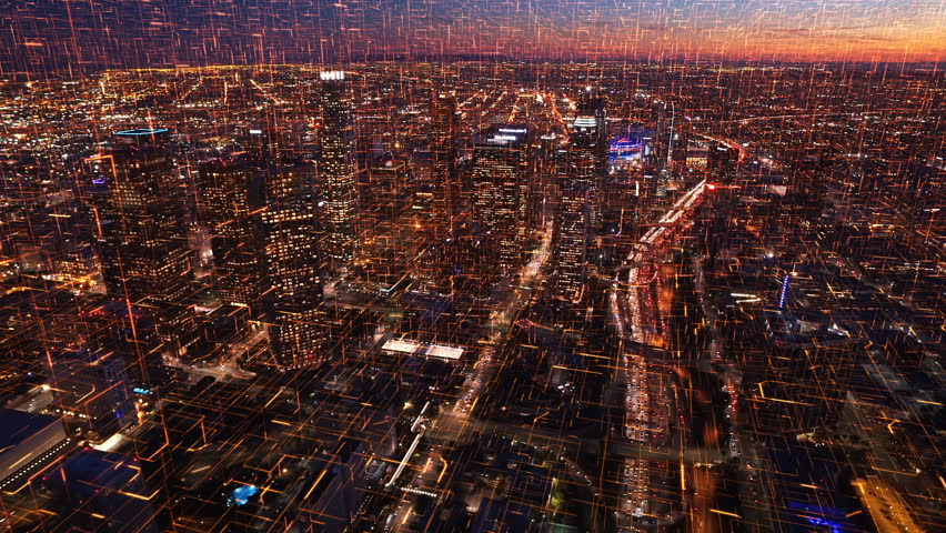Connected aerial view of the Financial District in Downtown Los Angeles, California. Internet of things. Circuit boards. Famous skyscrapers and freeway full of cars. Futuristic. Technology.
