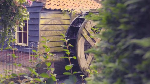 Slow dolly of water wheel and rack focus to foreground plants.