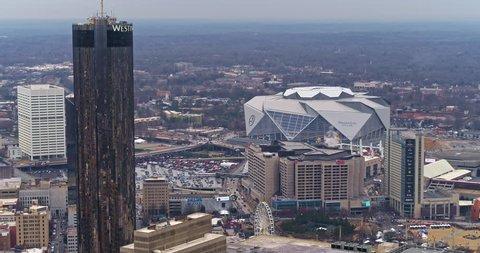 Atlanta Aerial v370 Flying high above Mercedes-Benz Stadium 1/18