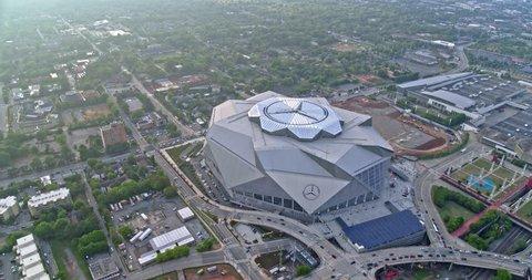 Atlanta Aerial v441 Panning around over Mercedes-Benz Stadium 5/18