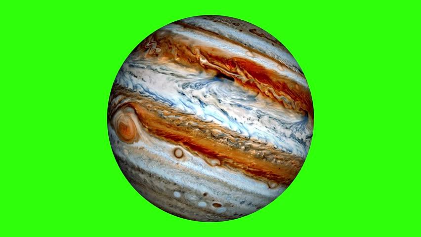 Jupiter is rotating in green screen. Loop video of gas planet.  | Shutterstock HD Video #1014720221
