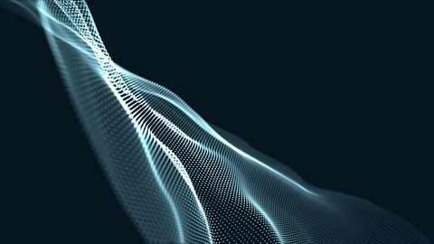 Digital wave background abstract title green blurred animation of particle seamless light through.