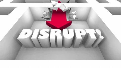 Disrupt Maze Break Through Walls Innovate Change 3d Animation