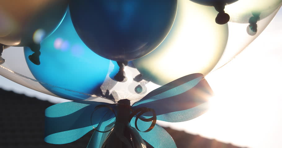balloon floating on sky with beautiful sunlight in the morning, good beginning have a new day