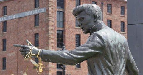 Billy Fury Statue at Albert Dock, Liverpool, Merseyside, Lancashire, England, UK, Europe
