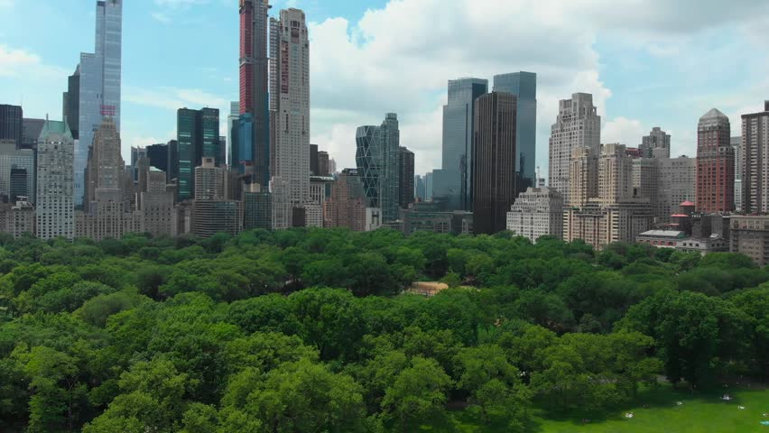 Downtown. Top view of central park in New York city with tall skyscrapers | Shutterstock HD Video #1014753701