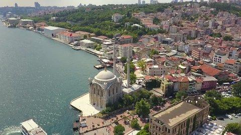 Istanbul Ortakoy area drone footage