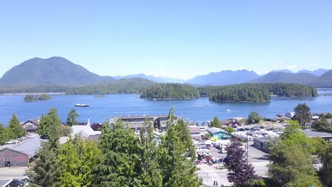 Tofino, Vancouver Island, British Columbia, Canada 4k Aerial Drone Raise/Lift Sunny Day with Harbour, Water and Islands
