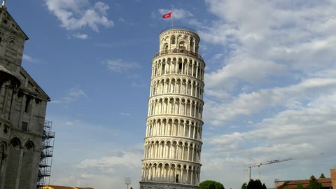 4K Pisa Leaning Tower Of Cathedral Duomo Italy Tuscany Toscana with blue sky