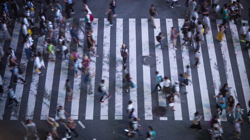 High Angle Time Lapse Shot of the Famous Shibuya Pedestrian Scramble Crosswalk with Crowds of People Crossing and Traffic. Evening in the Big City.  | Shutterstock HD Video #1014801491