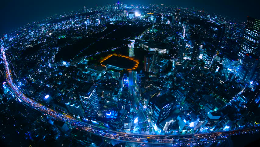 Tokyo night view time lapse pseudo aerial shooting wind shooting 4k