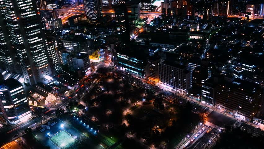 Tokyo night view, time lapse, Shinjuku, 4K