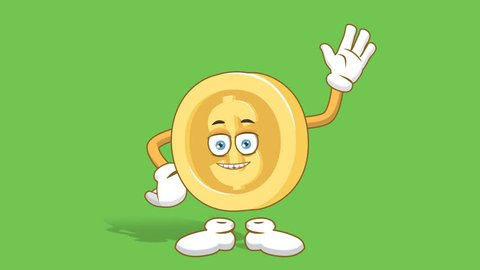 Cartoon dollar coin animated character face hand waving hello with alpha channel