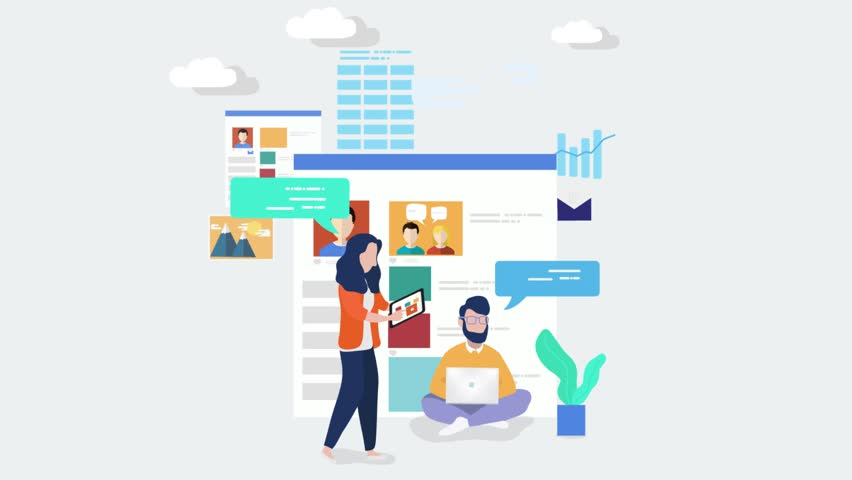 Business people characters scene video. Digital marketing specialist animation. Vector office concept of business people. Flat design. Stock footage