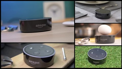 MONTREAL, CANADA - August 2018 : Montage of many usage of a smart home Virtual assistant in a house. Sowing the product in different rooms and situations. Amazon Echo Alexa