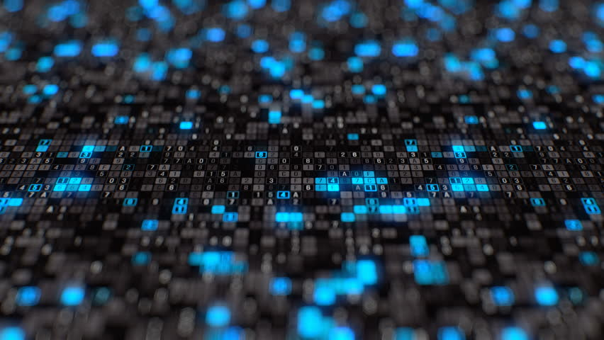 Black blue hexadecimal big data digital code futuristic information technology computer generated seamless loop animation tracking shot #1014902911