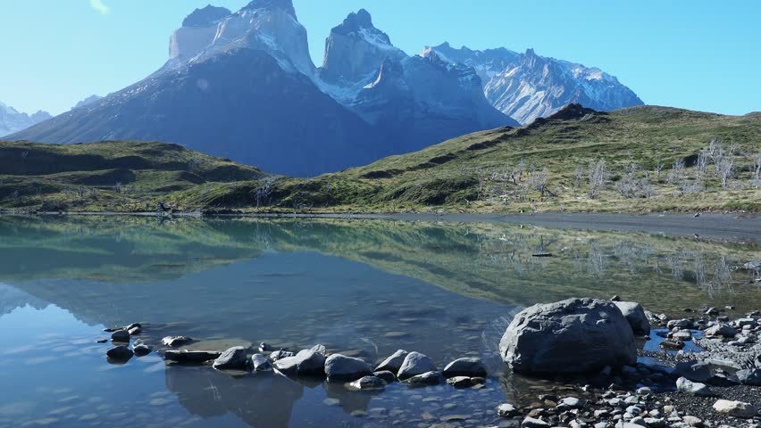 Cuernos del Paine reflecting in Nordenskjold Lake, Torres del Paine National Park, Patagonia, Chile
