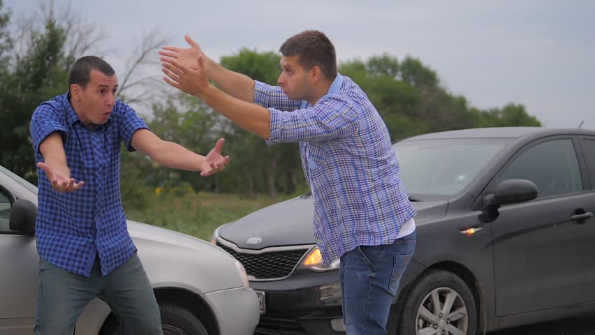 Two men arguing conflict after a car accident on the road car insurance. slow motion video. Two Drivers man Arguing After Traffic Accident lifestyle. auto insurance accident concept men. Two men