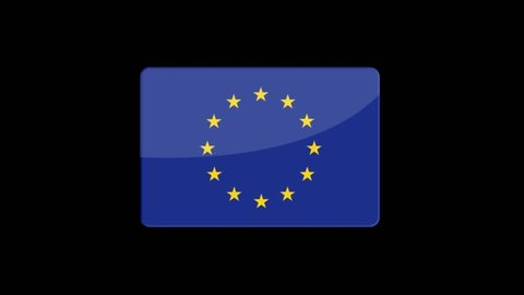Flag of European Union Beautiful 3d animation of European Union flag in loop mode.European Union flag animation