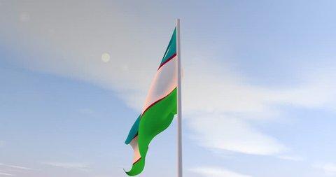 Uzbekistan flag with sunshine