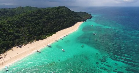 High altitude aerial view of the island of Boracay in the Philippines