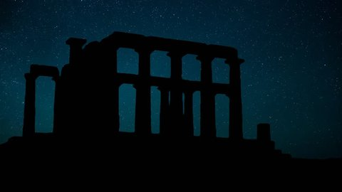 Greek Temple of Poseidon of Cape Sounion, Stars Timelapse