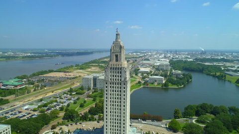 Louisiana State Capitol Building and Welcome Center 4k aerial drone footage orbit