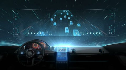 Inside of Future hybrid cars, Traffic control surveillance cameras. IOT. traffic CCTV cameras mounted main on high way, 4k movie. 2.