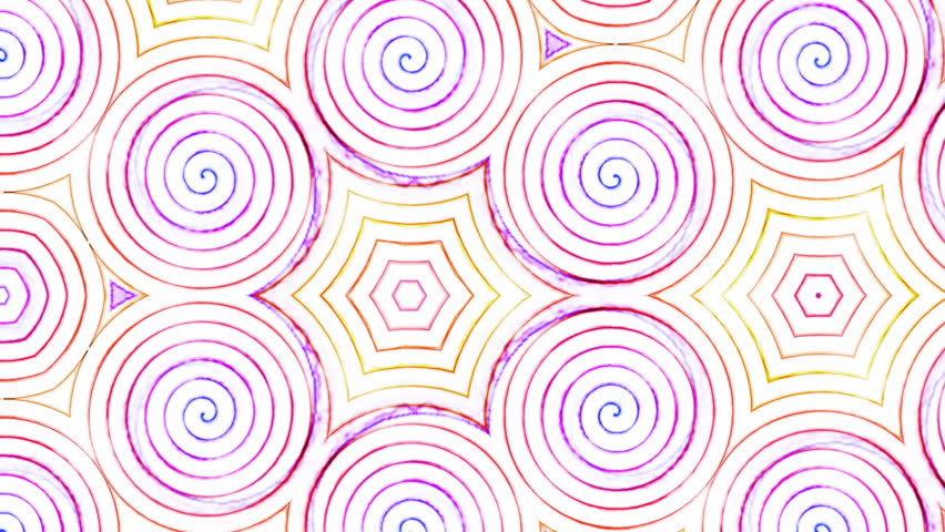 Kaleidoscope view of a swirling lollipop spiral hypnotic animation.